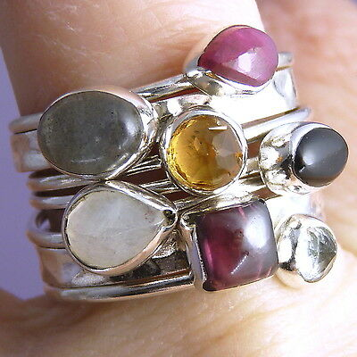 STACK 7 Rings SILVERSARI Size US 7 1/2 Solid 925 Sterling Silver & MULTIGEM