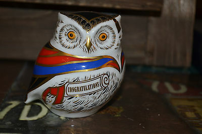 """Royal Crown Derby Paperweights  """"WISE"""" Owl 1st Quality & Orig Box  SPECIAL OFFER"""