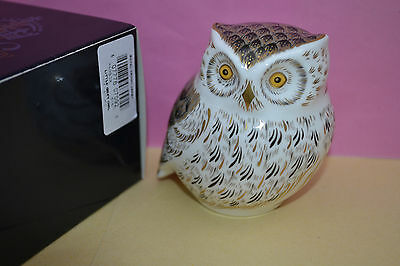 """Royal Crown Derby Paperweight """"LITTLE GREY OWL"""" New  1st Quality & Boxed"""