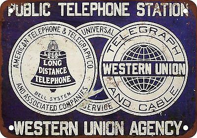 "7"" x 10"" Metal Sign - Bell System & Western Union - Vintage Look Reproduction"