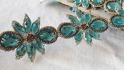4.5cm- 1 meter Gorgeous turquoise beaded handmade lace trimming for crafts DIY
