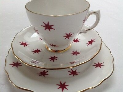 Royal Vale Bone China Trio Cup,saucer And Cake Plate- Raspberry Pink Stars