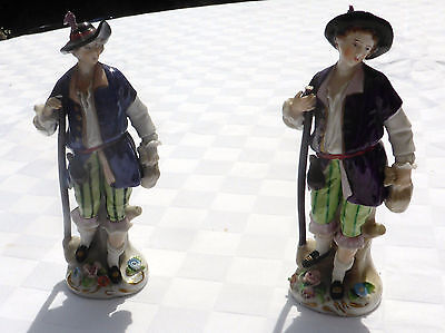 Pair of German Sitzendorf porcelain figurines high quality crafted detail