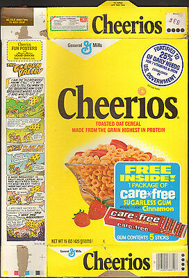 1970's General Mills Cheerios cereal box care free gum
