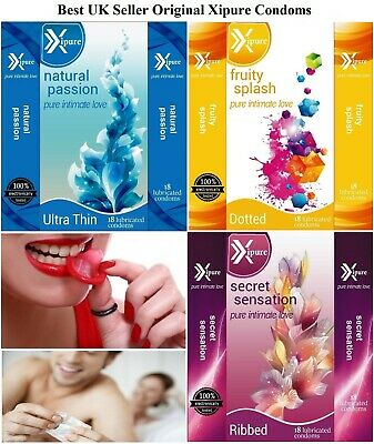 18, 36, 54 Pack Exure Condoms Natural Flavoured Ribbed 100% Tested Big Discount