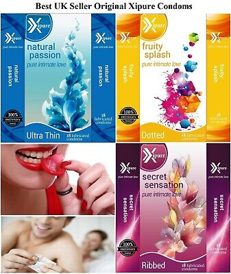 18 36 54 Pack Quality Condoms Natural Flavoured Ribbed 100% Tested Big Discount