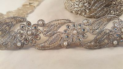 5cm- 1 meter Gorgeous silver beaded and pearls embroidered lace trim for craft