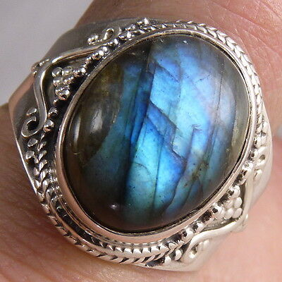 US 10 1/4 ~ SILVERSARI Gemstone Feature Ring ~ 925 Sterling Silver/LABRADORITE