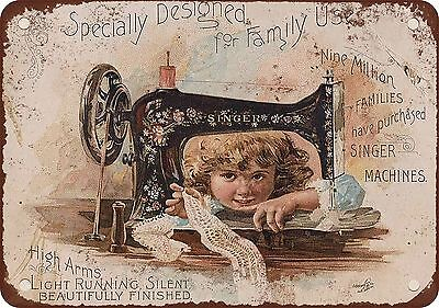 "7"" x 10"" Metal Sign - Singer Sewing Machines - Vintage Look Reproduction 4"