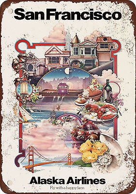 "7"" x 10"" Metal Sign - Visit San Francisco - Vintage Look Reproduction"