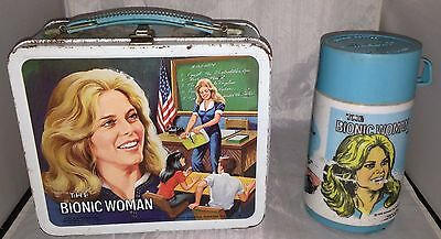 The Bionic Woman Metal Lunch Box Aladdin Industries 1978 with Thermos