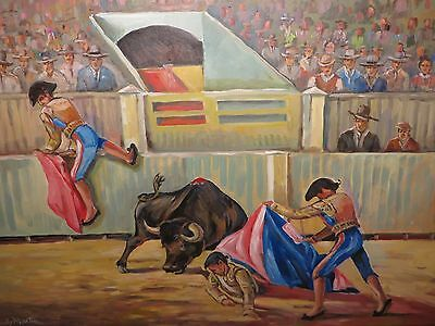 "24x36 original oil painting on canvas by Hardy Martin ""The Bull Fighters"""