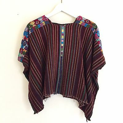 Vintage Guatemala Huipil Burgundy With Stripes And Embroidered Shoulders