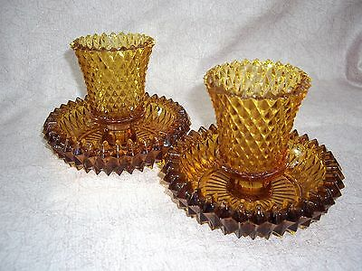 Lot Of 2 Vintage Diamond Cut Amber Gold Carnival Glass 2-Pc Candle Holders