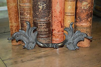 Antique French Dark Bronze Ornate French Handle Drawer Pull
