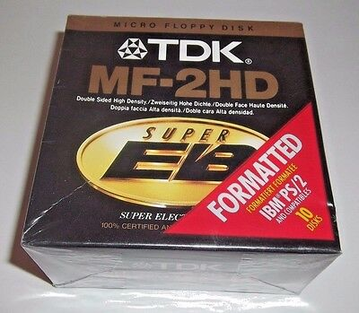 NEW TDK Micro Floppy Disks Pack of 10 NEW MF-2HD Double Sided High Density