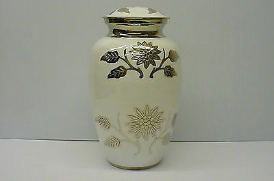 Funeral cremation urn human  white brass decorated with engraved silver daisies