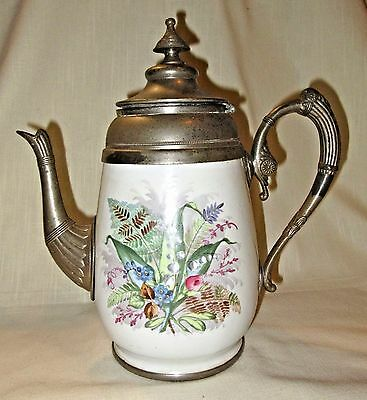 Antique Hand Painted Floral Ceramic & Pewter Teapot/Coffee Pot