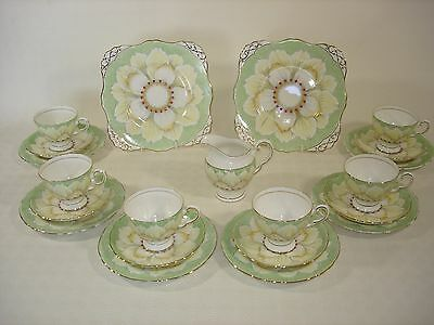 Tuscan Lotus Flower - Tea for Six with Two Sandwich/Cake Plates