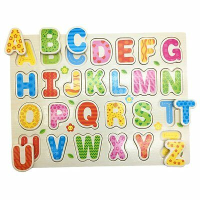 Mziart Cartoon Alphabet English Letters Wooden Puzzle for Kids See-Inside ABC