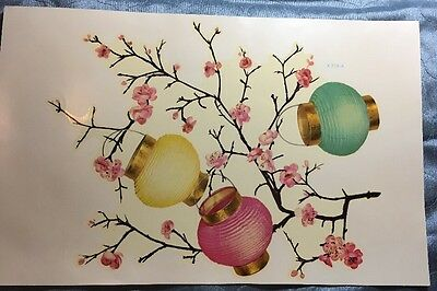 Meyercord Vintage Decals Paper Lanterns And Cherry Blossoms