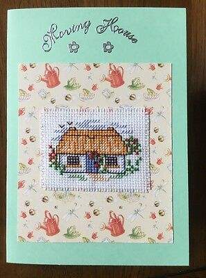 Completed Cross Stitch New Home Card Moving House 4x6 Inch