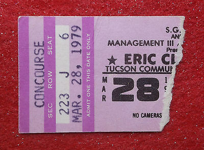 BLUES LEGENDS ERIC CLAPTON & MUDDY WATERS CONCERT TICKET Stub Tucson 3/28/1979
