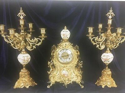 C981 Watch With Bronze Candelables Golden Limoges Insert