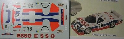 DECAL 1/43e WM P78 n° 78 ESS0 LE MANS 1978