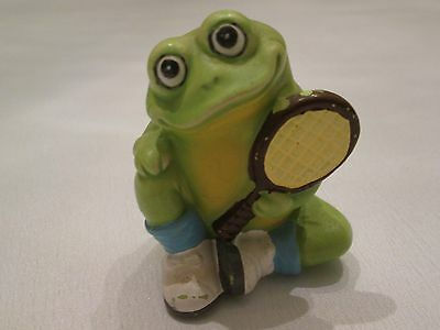 """*Vintage Ceramic Smiling Frog Figurine with Tennis Racket & Shoes 3"""" Hand Painte"""