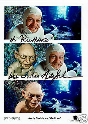 Andy Serkis Actor Lord of the Rings Hand  Signed Photograph card 9 x 7