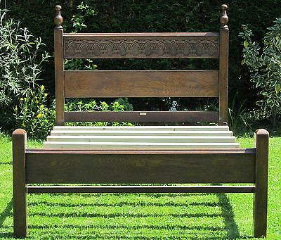 Quality Gothic Carved Solid Oak Double Bed with Pine Slat Base