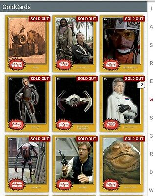 Topps Star Wars GOLD Variants (cc. 100) Lot of 16 *Digital Cards*
