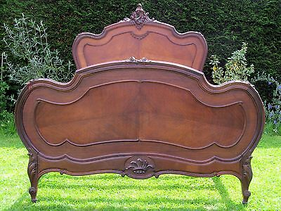 French Carved Rosewood and Mahogany Double Bed with Pine Slat Base