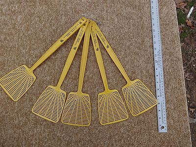 Lot of 5 NEW Fly Swatters - plastic - Dark Yellow