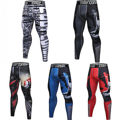 Men Compression Legging Quick-dry Athletic Long Pants Running Gym Tight fit Slim