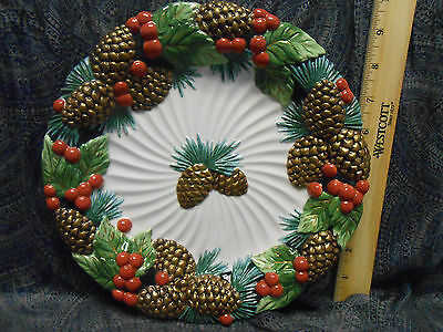 "Fitz and Floyd Classics ""Holiday Pine"" Pattern  Canape Plate 9 3/4"""