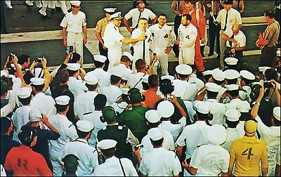 Famous People, Astronauts: Apollo 8 Space Ship Crew on USS Yorktown. 1968.
