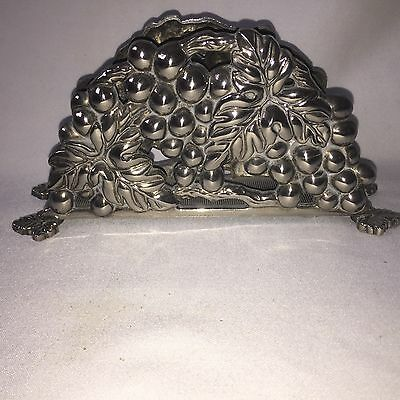 Vintage Silver Plated Serviettes Tissue Holder With Grapes