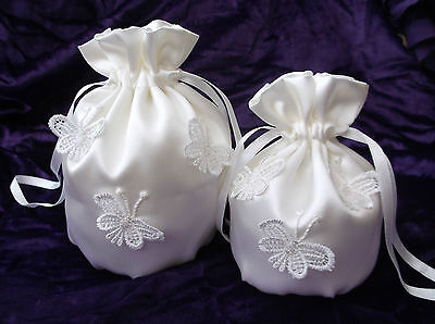 NEW IVORY satin wedding/ dolly bag with lace butterflies ~ Child and Adult size