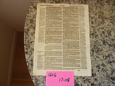 (Leaf)  original from The Holy Bible, printed in 1606 (411 yrs) #17-118