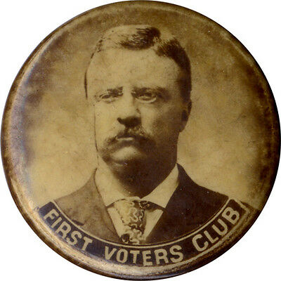 1904 Theodore Roosevelt FIRST VOTERS CLUB Campaign Photo Button