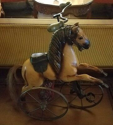 Vintage Carved Horse on tricycle