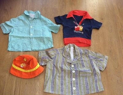 VINTAGE Original Boys CLOTHING INFANT CHILDRENS Toddler 1970s 3 Tops And Hat