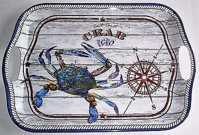 "East Coast Crab Co. Melamine Serving Tray With Handles 18"" X 12.5"""