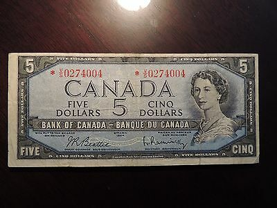 1954 BANK OF CANADA $ 5 FIVE DOLLARS REPLACEMENT *V/S 0274004 BC-39bA