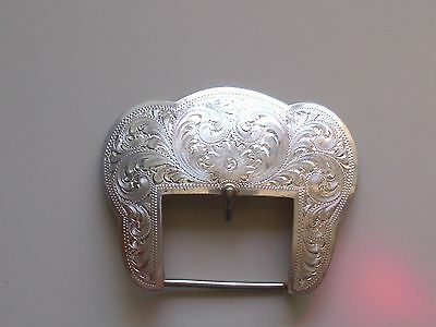 """Beautiful Sterling Silver Overlaid 1 3/4"""" Buckle With Nice Engraving"""