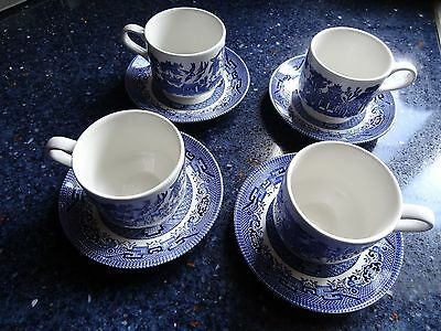 Set of 4 Churchill of England BLUE WILLOW cups and saucers for tea or coffee