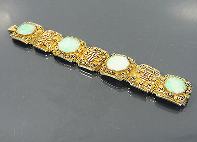 Chinese Export Silver-Gilt Jade Bracelet Jewelry China Jade