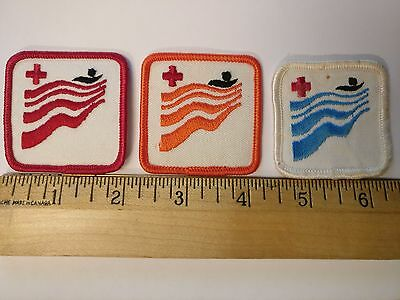 Vintage Canada Red Cross Swimming Red & Orange & White Blue Badges Crests Patch